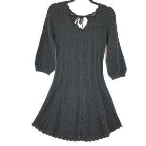 Betsey Johnson Black Crochet Sweater Style Dress